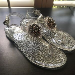COACH Hilda Sandals Clear Silver Size 5